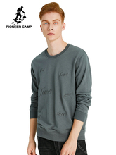 Pioneer Camp Wine Red Mens Sweatshirt Black Grey Crew Neck Embroidery Plain Casual Burgundy Hoodies Male AWY908114