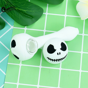 Creative Halloween 1pcs Silicone Smoking Pipe with Glass Bowl Unbreakable Tobacco Hand Pipes for Smoking