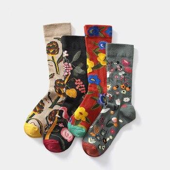 Chic Jacquard Breathable Combed Cotton Socks Women Men Cartoon Flowel Graffiti Tide Sock Streetwear Casual Skateboard Sox - discount item  18% OFF Women's Socks & Hosiery