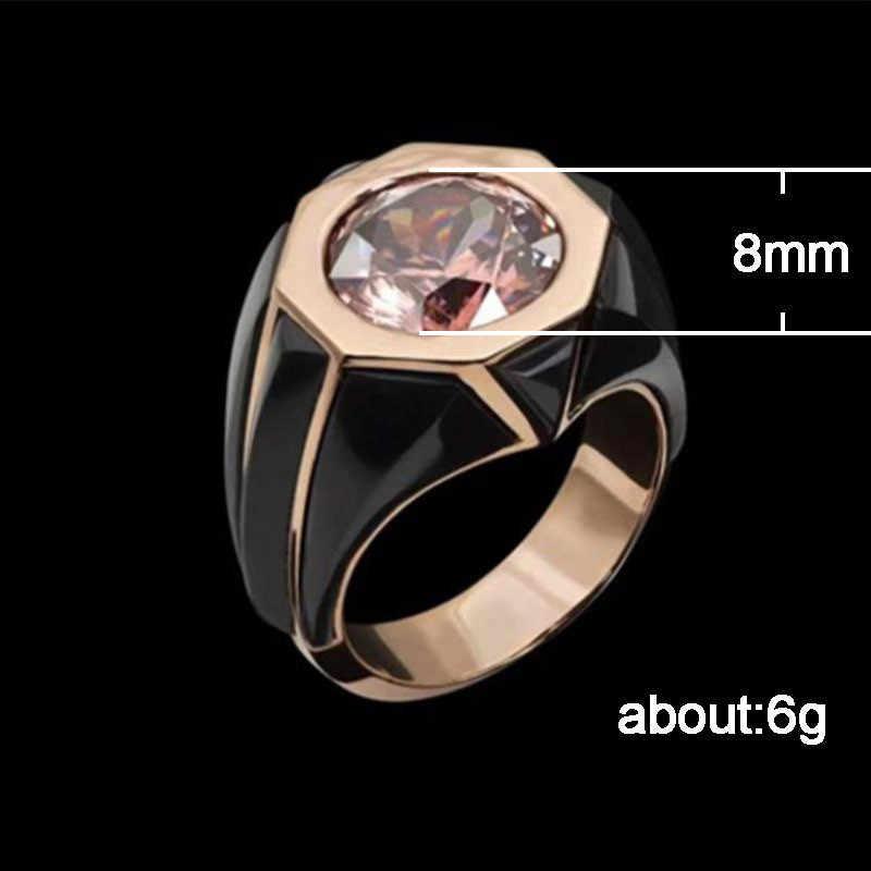 אופנה רוז זהב קריסטל טבעות לנשים גיאומטריה ורוד ריינסטון אצבע טבעת גבירותיי בציר גדול טבעת גברים זוג חתונה טבעות
