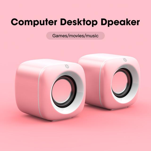 USB Wired Computer Speakers Pink Laptop Speaker Subwoofer Deep Bass Sound Box Music Player Loudspeaker Haut-parleurs Cute Column 3