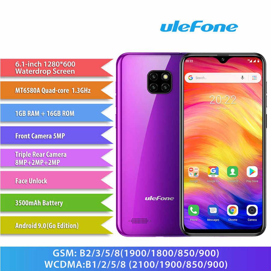 Ulefone Note 7 Android 9.0 6.1 ''écran goutte d'eau Smartphone 3500mAh 19:9 Quad Core 1GB RAM 16GB ROM WCDMA téléphone portable