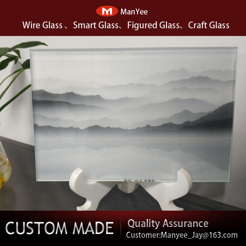 Wired glass partition light luxury screen three dimensional art background wall decoration double layer laminated glass embossed