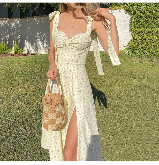 Floral Print Midi Bow Strap Dress  4