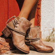 Winter Women Biker Ankle Boots PU Leather Wipe Color High Heel Lace Up Rubber Ro