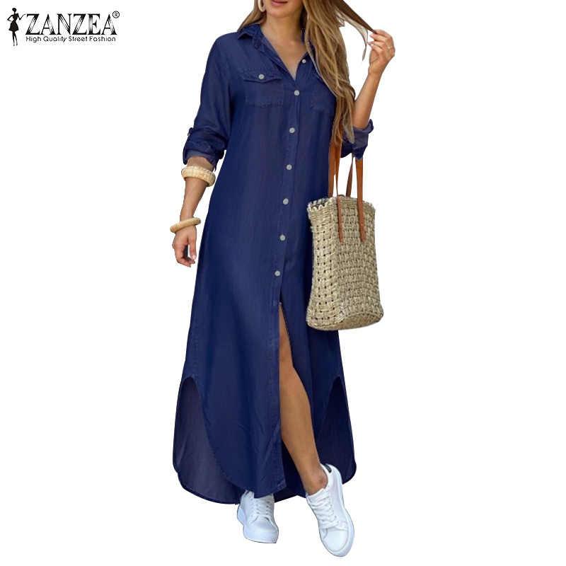 Zanzea Nữ Đầm Maxi Dài Khoác Nút Xuống Sơ Mi Dài Vestidos Vải Lanh Cotton Sundress Ve Áo Cổ Đảng Bãi Biển Áo