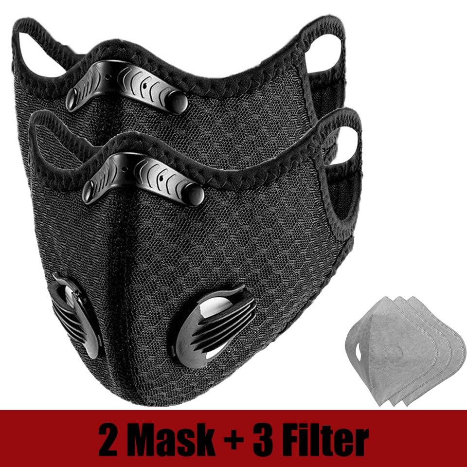 Máscara Facial deportiva transpirable a prueba de bacterias con carbón activado PM 2,5 anticontaminación para correr máscara de cuidado Facial de ciclismo