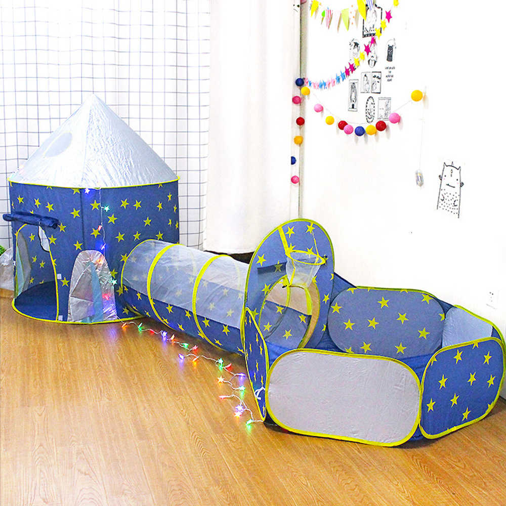 Children's Tent Portable 3 In 1 Spaceship Baby Wigwam Rocket Ship Tent For Kid Tipi Dry Pool Ball Box Children's Room Beach Toy