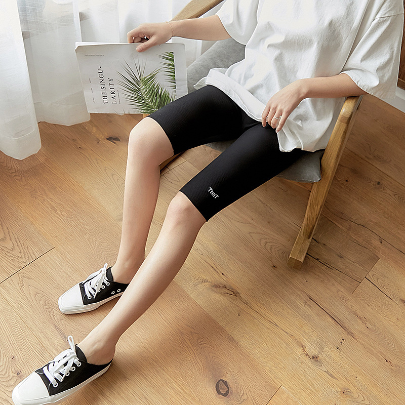 KL392 Summer Knee Length   Pants     Capris   Women Comfortable Cycling Trousers High Waist Casual Biker   Capris   7 Colors