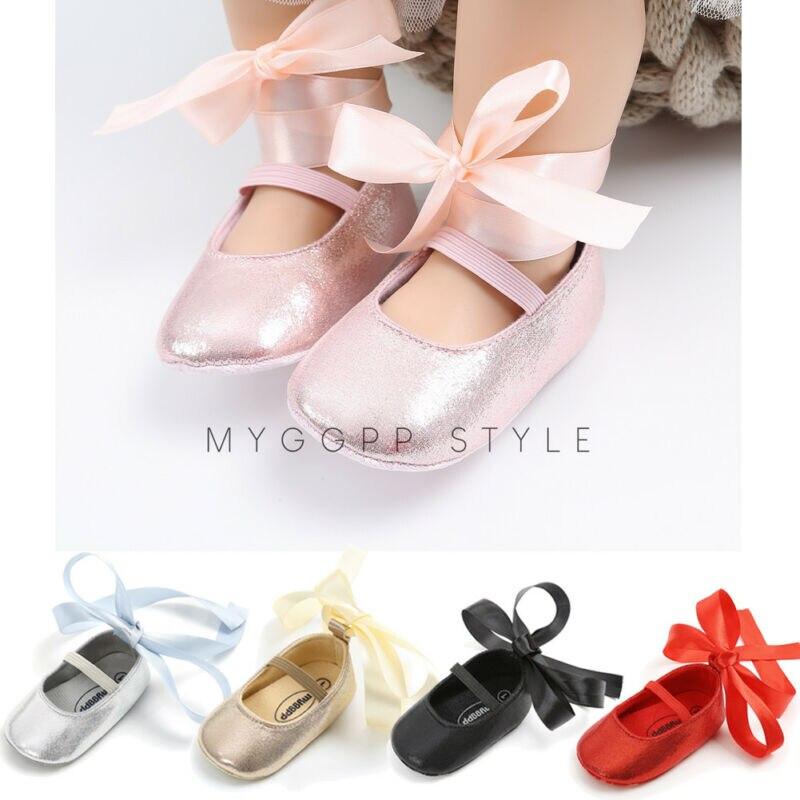 2019 New Listing Princess Newborn Baby Girl Shoes Soft Sole Cloth Crib Shoes Anti-slip PU Sequin Prewalker Bowknot 0-18M