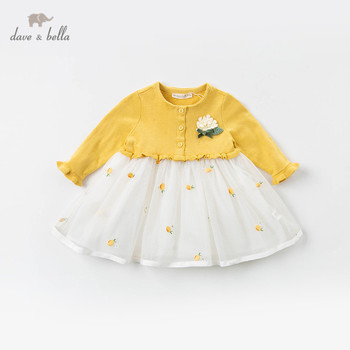 DBJ12801 dave bella spring baby girl's princess cute flora sweater dress children fashion party dress kids infant lolita clothes