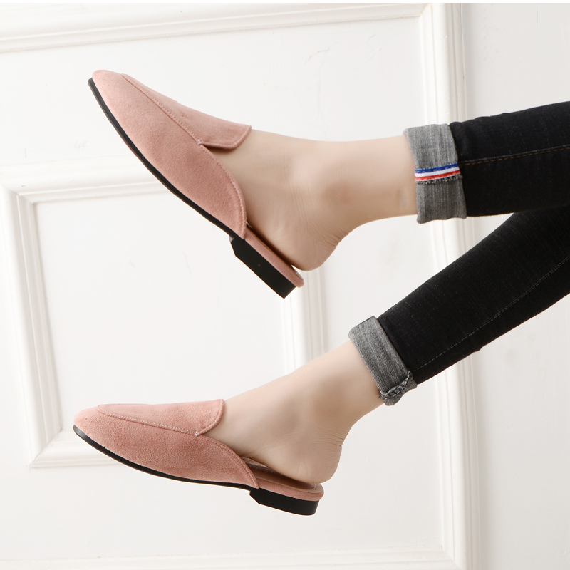 Women Slipper Shoes Half Slippers Mules Flats Shoes 2019 New Female Casual Ponited Flats Loafers Solid Color Mules Flat 3