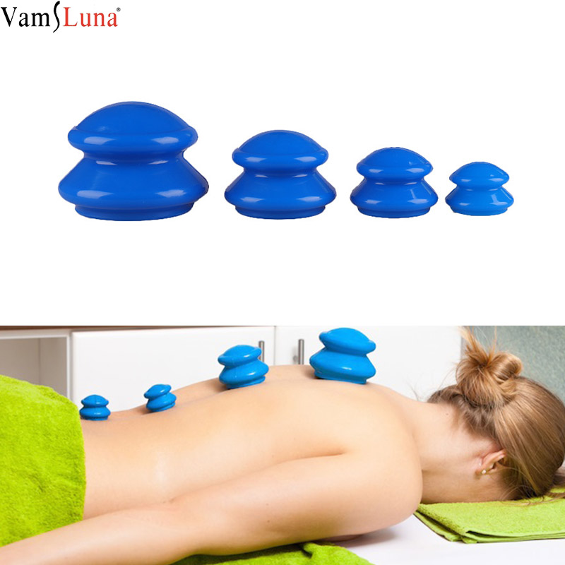 4Pcs Moisture Absorber Anti Cellulite Vacuum Cupping Cup Silicone Family Facial Body Massage Therapy Cupping Cup Set