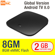 Global Version Xiaomi Mi TV BOX 3 Android TV 8.0 Smart 4K HDR Set-top Box Quad Core eMMc 8GB Youtube Sling TV Netflix DTS Dolby