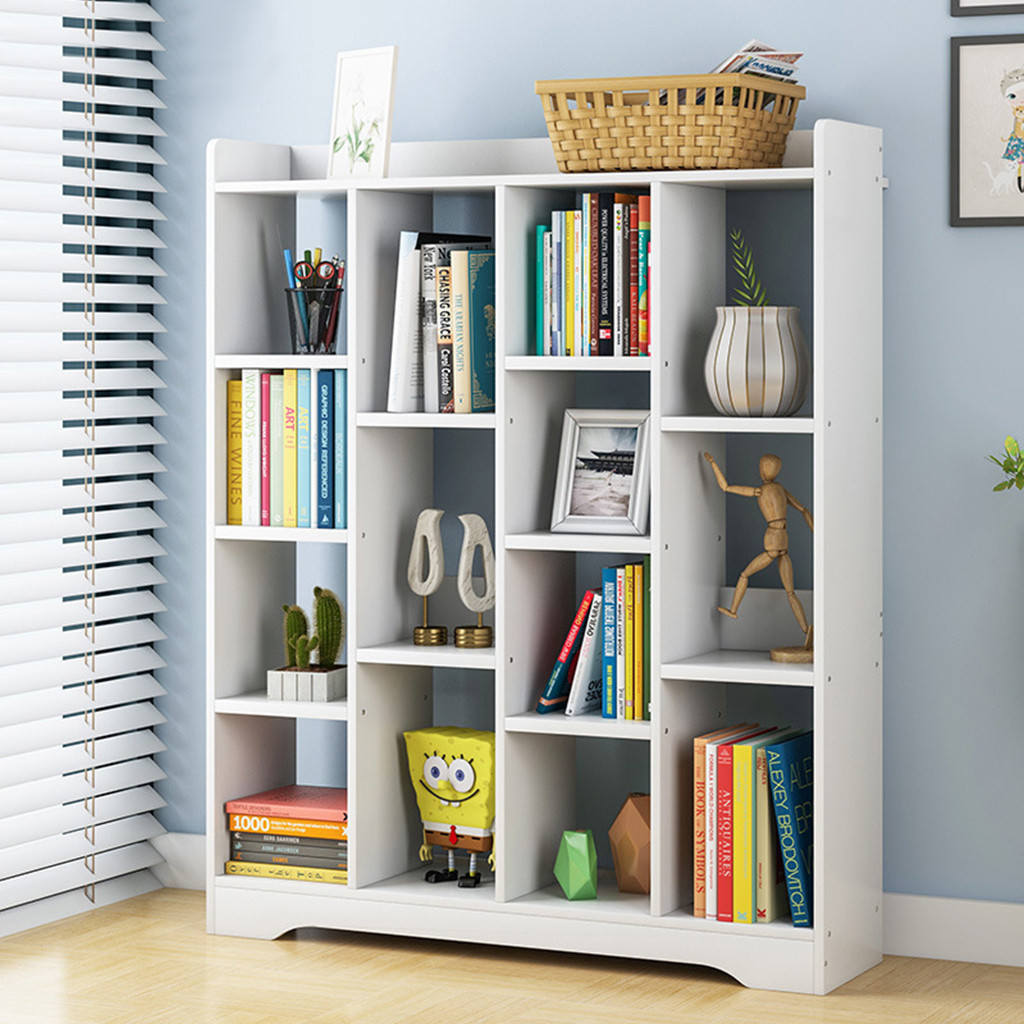 Repisa de ventana de compartimento de suelo de 4 niveles, estantería creativa, librería, combinación gratis