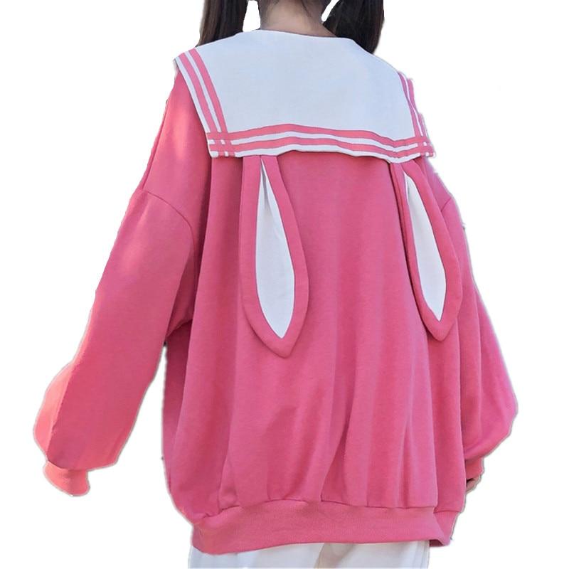 Japanese Lolita Long Rabbit Ears School Hoodie 1