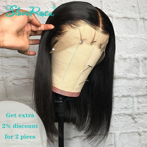 13x4 Lace Short Bob Wigs 130% Brazilian Remy Hair Can Be Dyed Lace Front Human Hair Wigs Pre-Plucked Bleached Knots Slove Rosa(China)