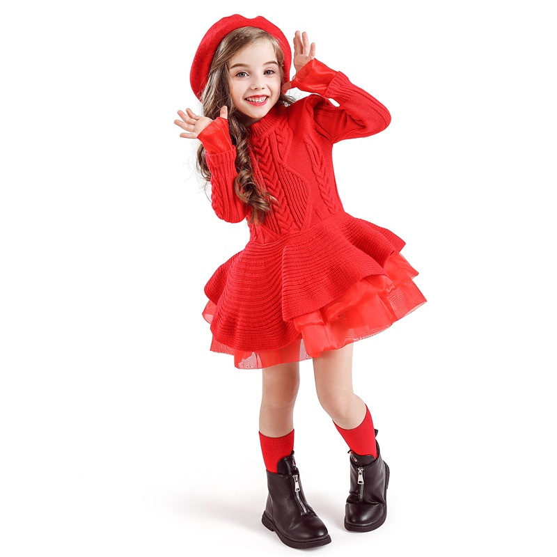 H2d0526f85e5a48d69c4c58d15e696f813 Xmas Winter Autumn Girl Dress Children Clothes Kids Dresses For Girls Party Dress Long Sleeve Knitted Sweater Toddler Girl Dress