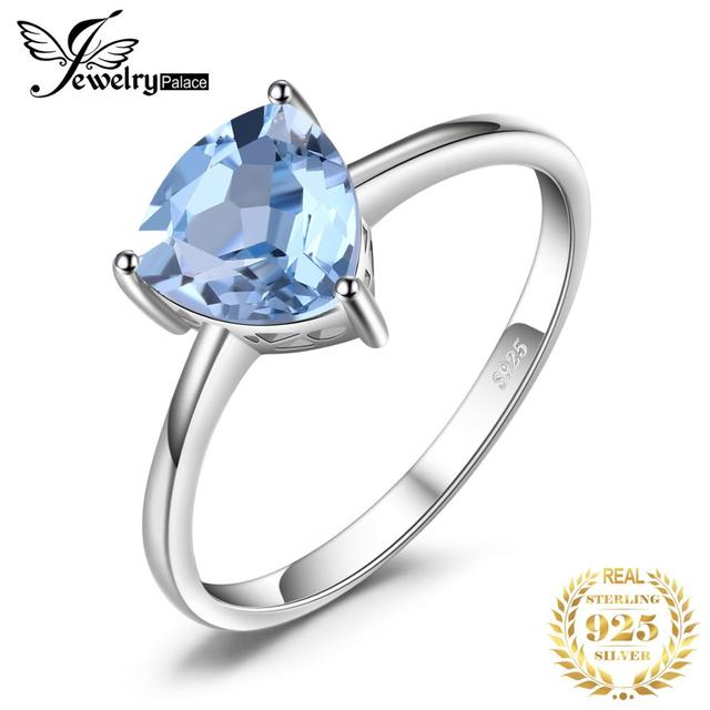 JewelryPalace Genuine Blue Topaz Ring Solitaire 925 Sterling Silver Rings for Women Engagement Ring Silver 925 Gemstones Jewelry
