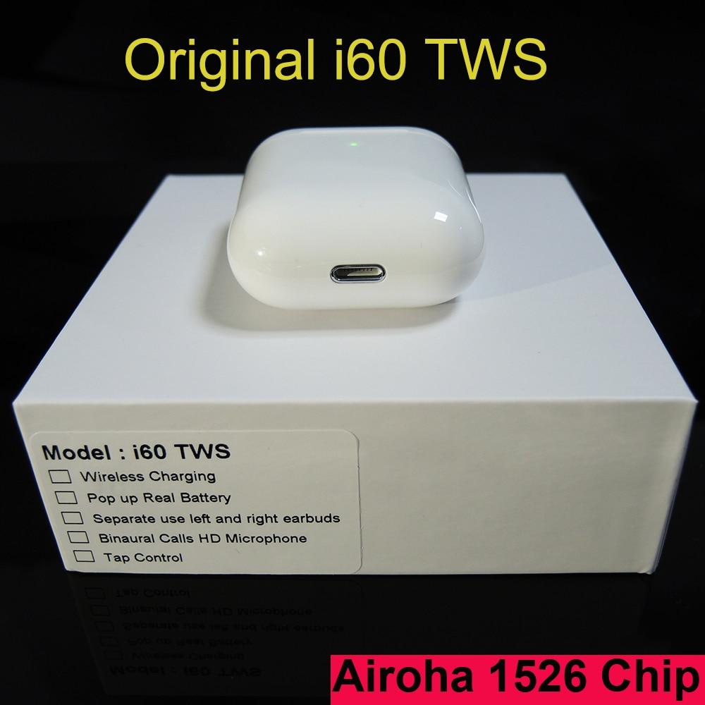 I60 TWS Pop Up Window 1:1 Separate Use Wireless Earphone Wireless Charging Bluetooth 5.0 Earphones Bass Earbuds PK I30 I100 TWS