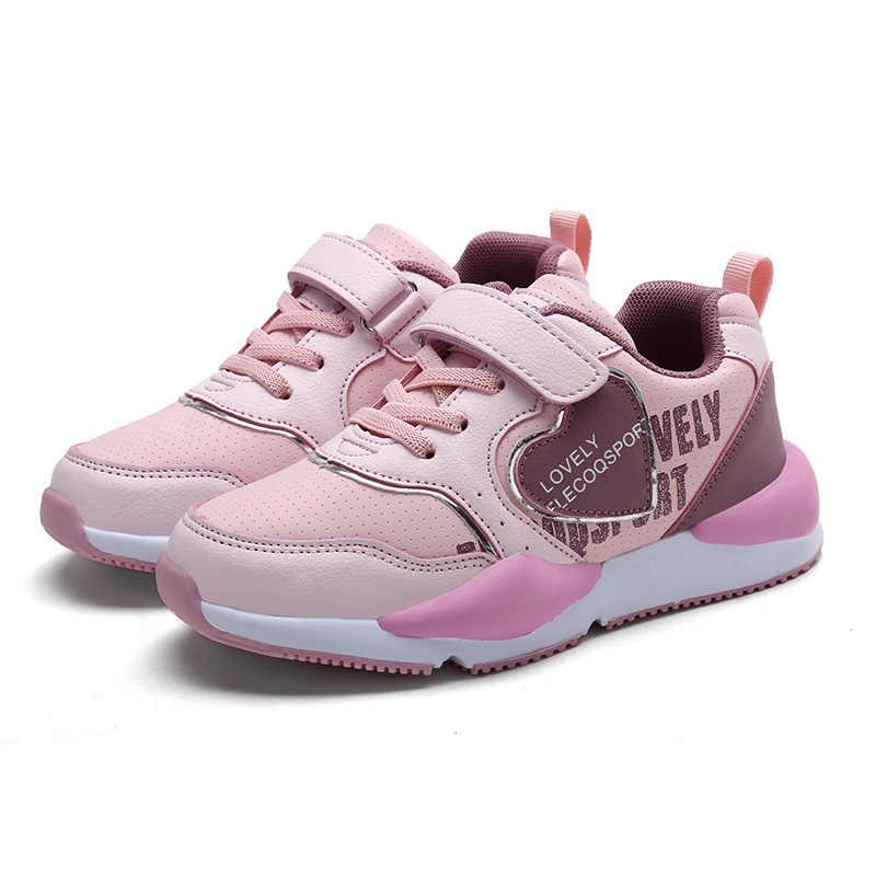 2019 bahar kız beyaz marka spor ayakkabı küçük çocuk rahat koşu okul eğitmen büyük çocuk PU deri çocuk siyah ayakkabı