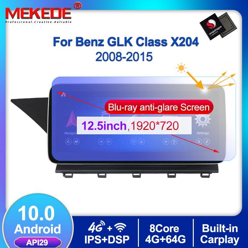 MEKEDE 12.5 ''1920*720P Android 10 araba multimedya oynatıcı Benz GLK sınıfı X204 2008-2015 4 + 64G GPS navigasyon WIFI radyo BT