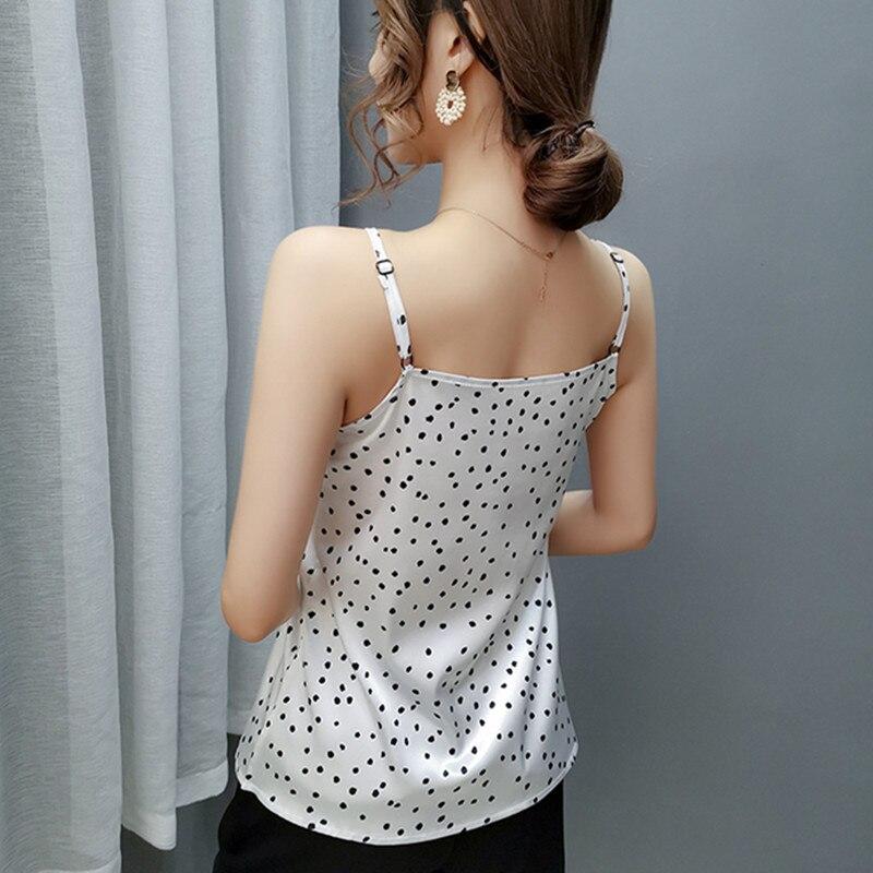Korean Silk Top Women Woman Sleeveless Satin Vest Tank Tops Elegant Woman Lace Patchwork Tank Top Plus Size Women Dot Print Tees