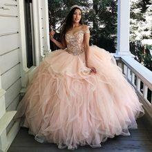 Angelsbridep-Vestido de baile de Organza, quinceañera, lujoso, sin hombros, cristales brillantes, 16 vestidos, 15 Anos, 2021