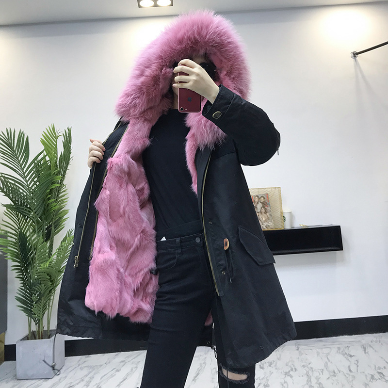 Real Fur Coat Women Fox Fur Coat Women Clothes 2020 Real Fur Parka Warm Winter Coat Women Manteau Femme WJ-801-1 YY1069