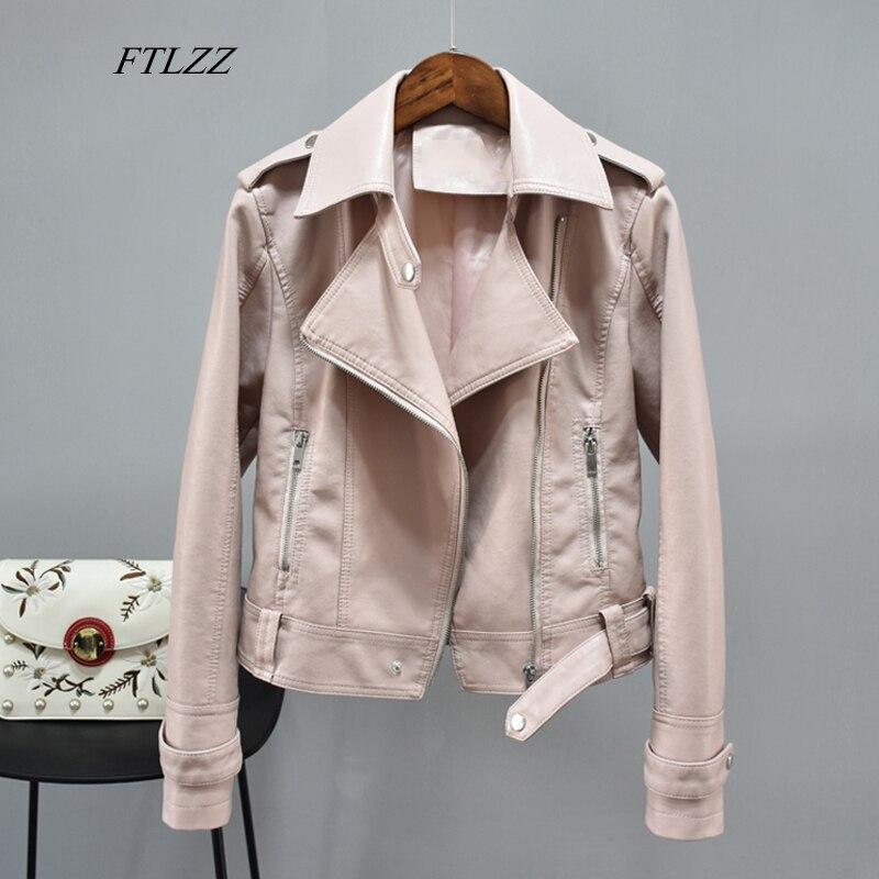 FTLZZ Autumn Faux Soft Leather Basic Jackets Women Turndown Collar Zipper Epaulet Slim Faux Leather Coat Female Biker Outwear