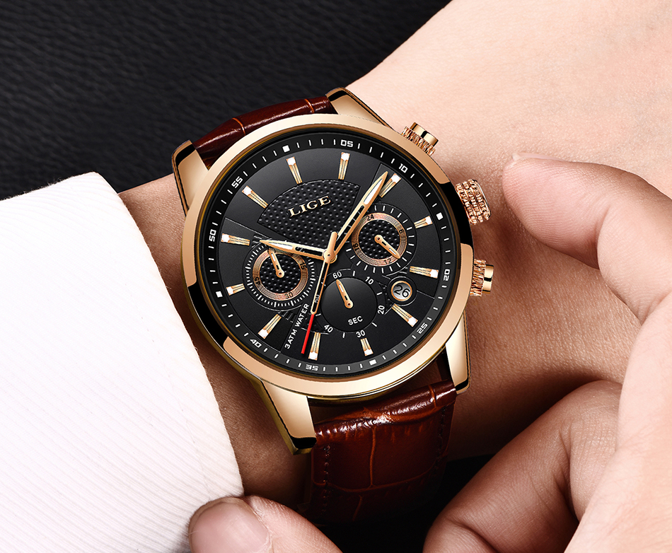 H2d05a8b24e274c479e096f3fe9887daeX LIGE New Men Watch Top Brand Blue Leather Chronograph Waterproof Sport Automatic Date Quartz Watches For Mens Relogio Masculino