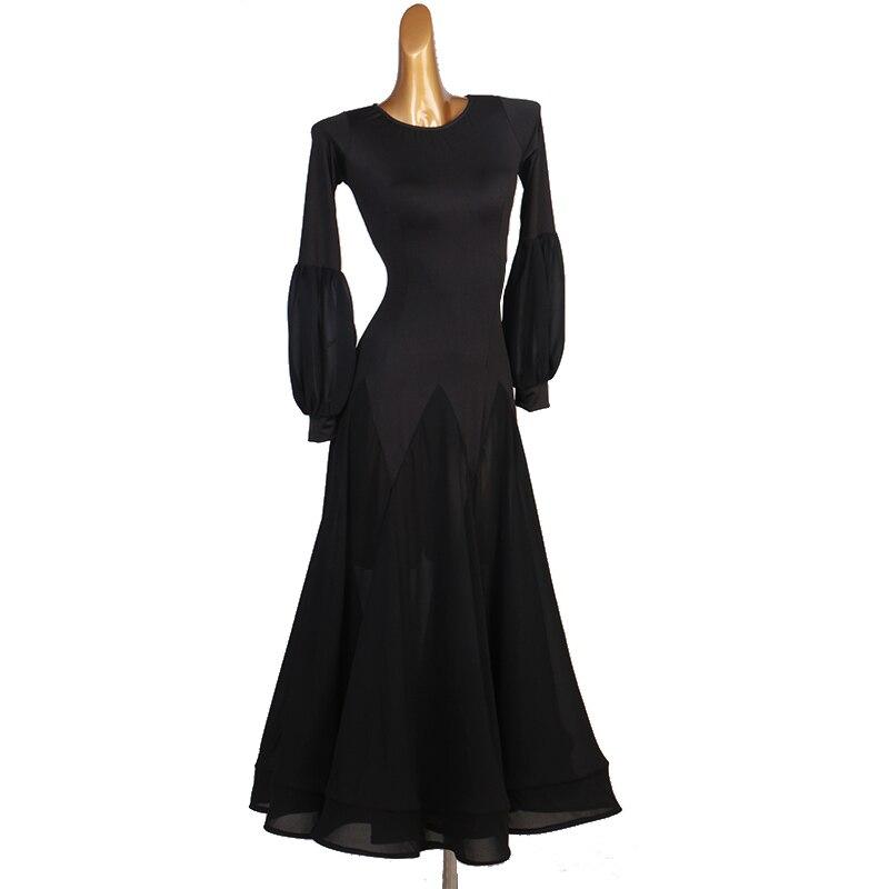 CACARE Ballroom Dance Competition Dresses Waltz Dress Standard Dance Dresses Costumes D0277 Big Ruffled Hem Puff Sleeve