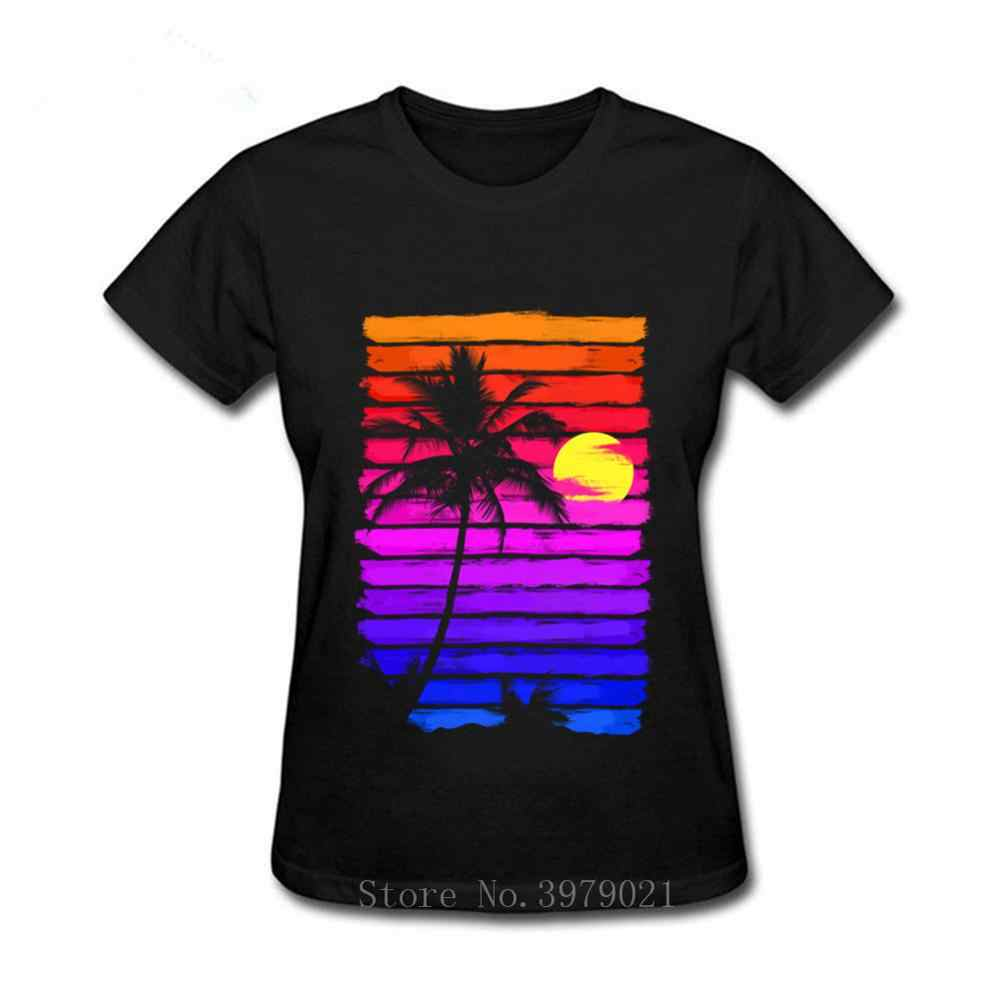 Retro 80s Outrun Sunset Palm Tree Silhouette Tshirt Original Manga Women เสื้อยืด Hotline Miami T เสื้อผ้าฝ้าย tee