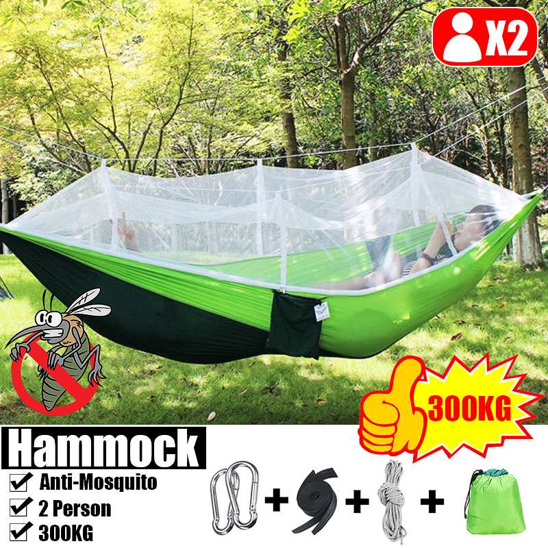 2 Person Portable Outdoor Camping Hammock With Mosquito Net High Strength Parachute Fabric Hanging Bed Tent Sleeping Swing Chair