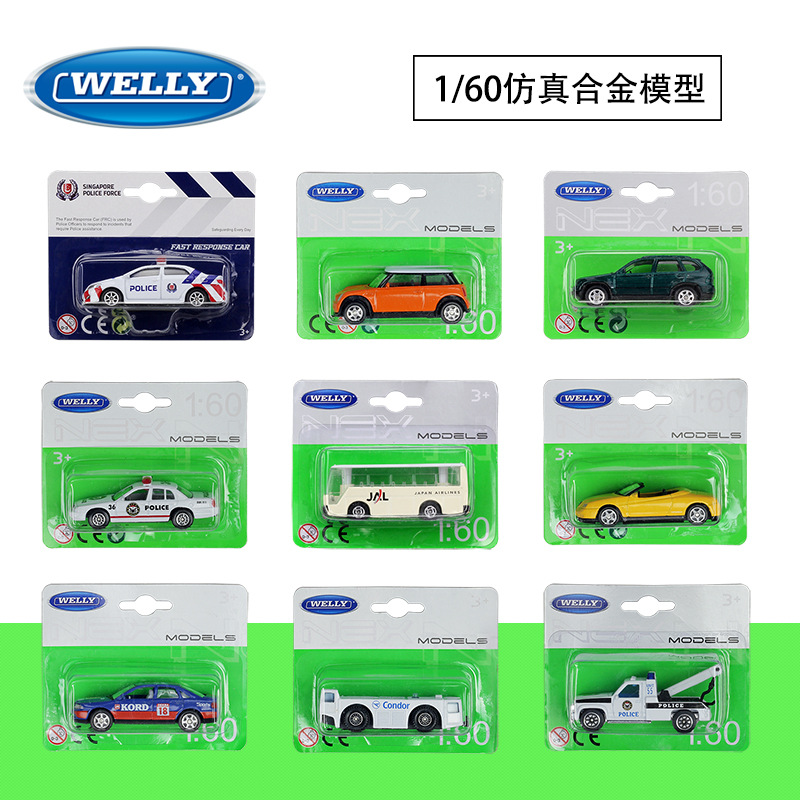 WELLY 1:60 Simulation Alloy Car Model Toy For Toyota Corolla Airport Bus Trailer Alfa Romeo BENZ AUDI MiNi Car Model For Kids