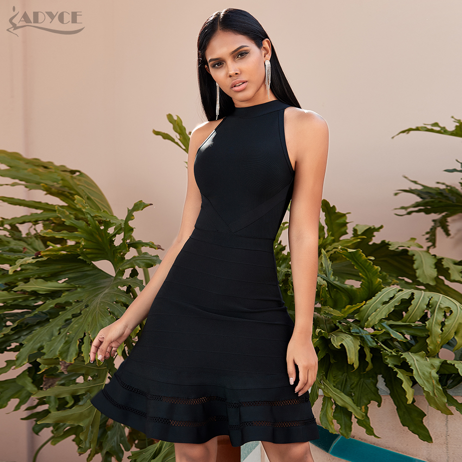 Adyce 2020 New Summer Black Mermaid Bandage Dress Women Sexy Halter Bodycon Club Mini Celebrity Evening Party Dress Vestidos