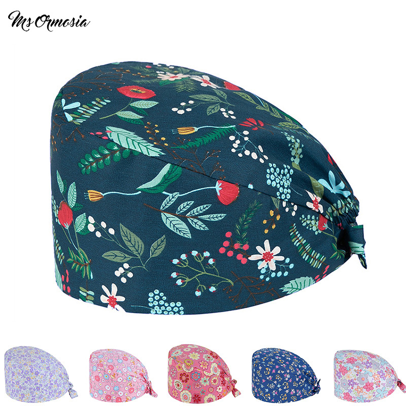 Hospital Dental Clinic Work Cap Pediatrician Cute Cotton Medical Cap Surgical Cap Feather Pattern Medical Accessories Unisex Hat