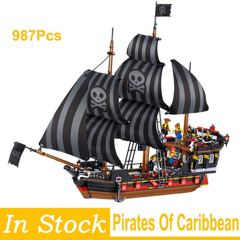 987 pçs piratas do caribe tijolos recompensa navio pirata blocos de construção diy conjuntos brinquedos educativos presentes natal para crianças