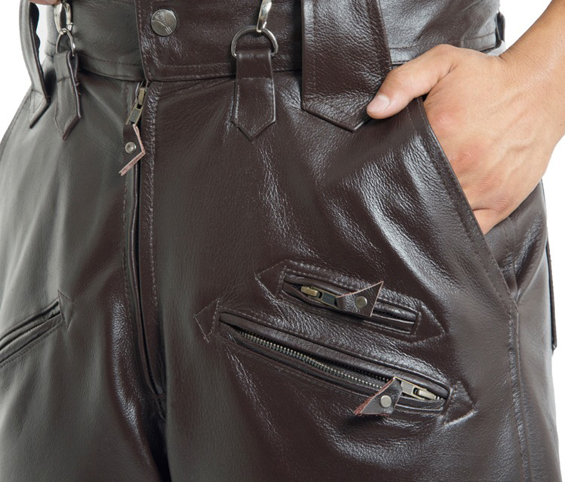 Brown Mens Luxury Cowhide Trousers Plus Size Loose Genuine Real Leather Man Zippers Motorcycle Riding Pants Winter Warm 16