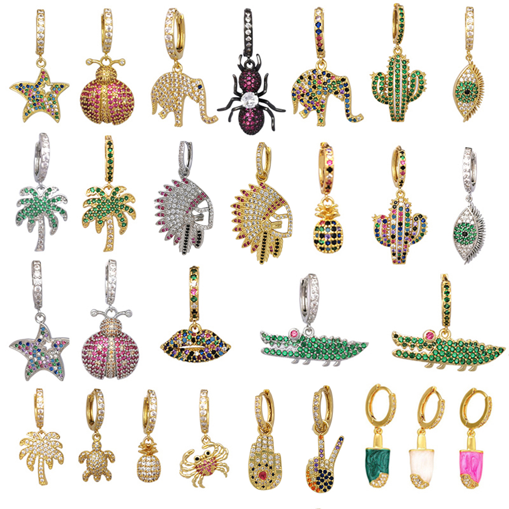 1Piece Small Hoop Earrings Women CZ Rainbow Jewelry Gold Silver Col Pineapple Star Cactus Evil Eye Elephant Hoops Earring Indian