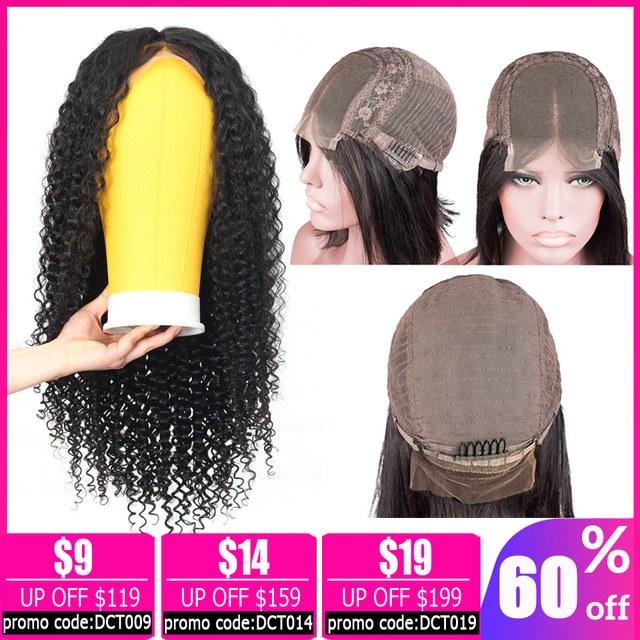 $ US $32.34 LEVITA short afro kinky curly human hair wigs 4×4 lace closure wig Brazilian Lace Closure Wigs for women non-remy 150% Density