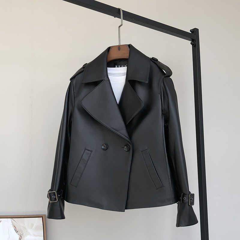 Nerazzurri 黒プラスサイズのレザージャケット女性のための長袖エポーレットノッチラペルダブルブレストレディース革ジャケット 5xl