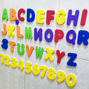 Alphanumeric Letter Puzzle Bath Toys Soft EVA Kids Baby Bathroom Water Toys Early Educational Suction Up Fish Bathing Toy(China)