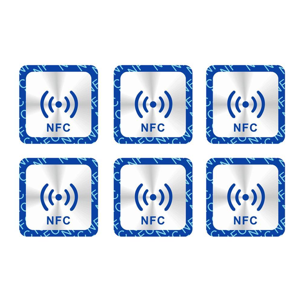 Наклейки NFC 6 шт./лот, наклейки NFC 213, металлическая наклейка-этикетка с металлическим покрытием RFID, универсальная бирка NFC 213 для всех телефоно...