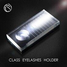 Transparent Eyelash Extension Pallet Eyelash Pallet Crystal Glass False Eyelashes Holder Glue Tray with Tick Mark Beauty Makeup недорого