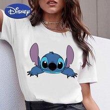 Disney Lilo i ścieg ubrania szczere i wierne ściegi słodkie nadruki topy Oversize Tshirt być ulubione kobiety Cartoon t-shirty