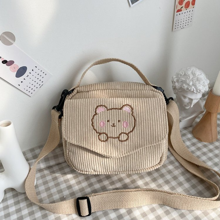 Hot Women Canvas Zipper Bag Preppy Style Student Tote Shoulder Messenger Bag Small Corduroy Bag Satchel Travel Purse Handbag