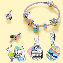 INBEAUT Genuine 100% 925 sterling silver Easter bunny charm beads fit original bracelet pendant DIY gift woman exquisite jewelry