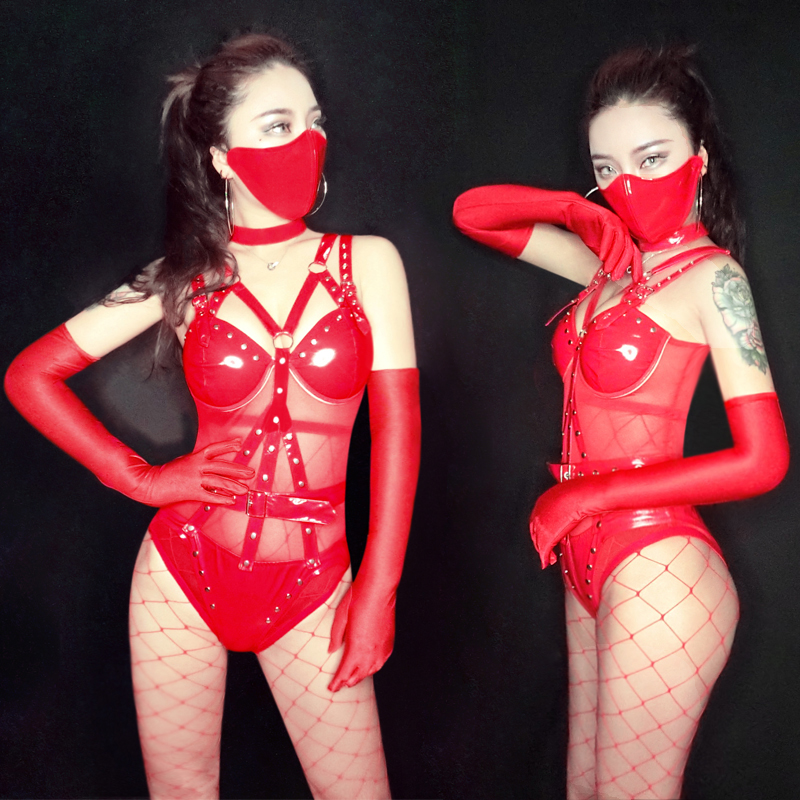 Ropa Festival Musica Women Rave Clothes Nightclub Jumpsuit Red Body Suit Sexy Singers Stage Clothes GoGo Dancers Costume BL2250