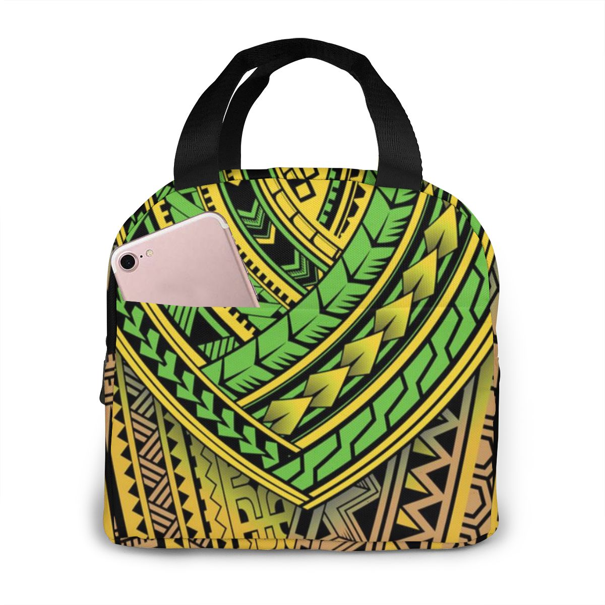 Work Lunch Tote Fresh Lunch Bags For Women Kids Girl Polynesian Tribal Print Portable Zipper Thermal Oxford Cooler Food BBQ Bag